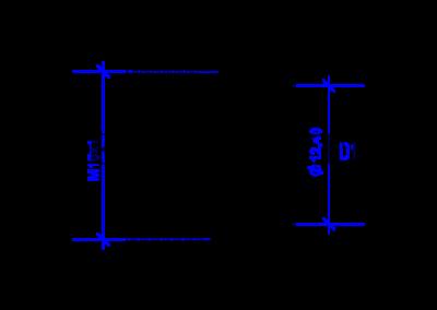 Технически чертеж на DREHMEISTER M16x1 гайка за термопластична тръба 8 mm